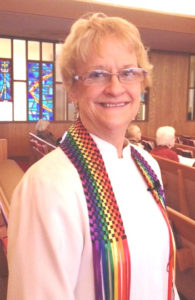 Betsy preaching at Watsonville First UMC, CA, 2014